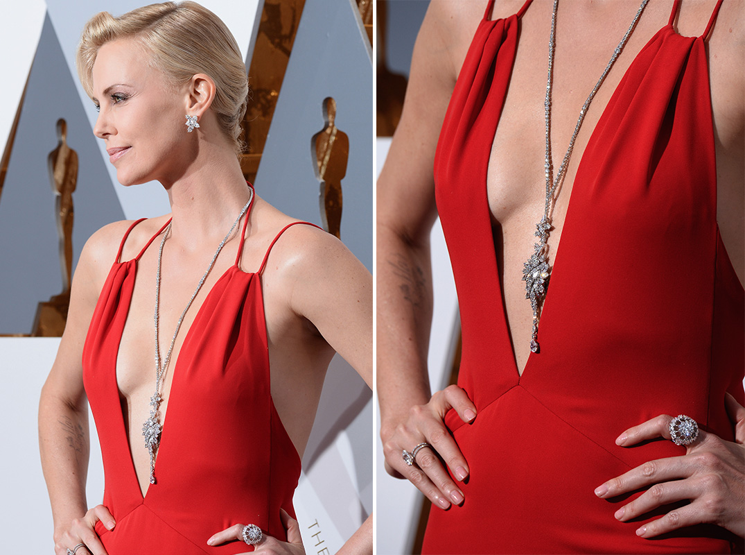 Charlize Theron Christian Dior Oscars Academy Awards 2016 Fashion Dress Jewelry Details