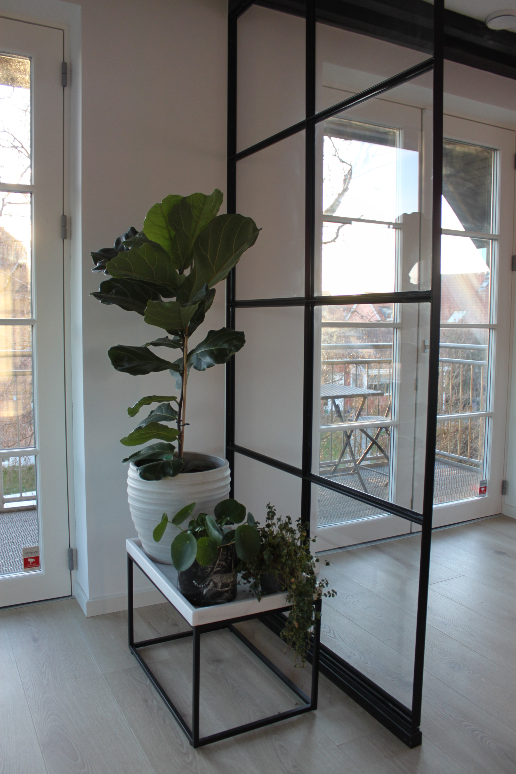 Juliana Chow Copenhagen apartment fiddle leaf fig industrial black framed windows