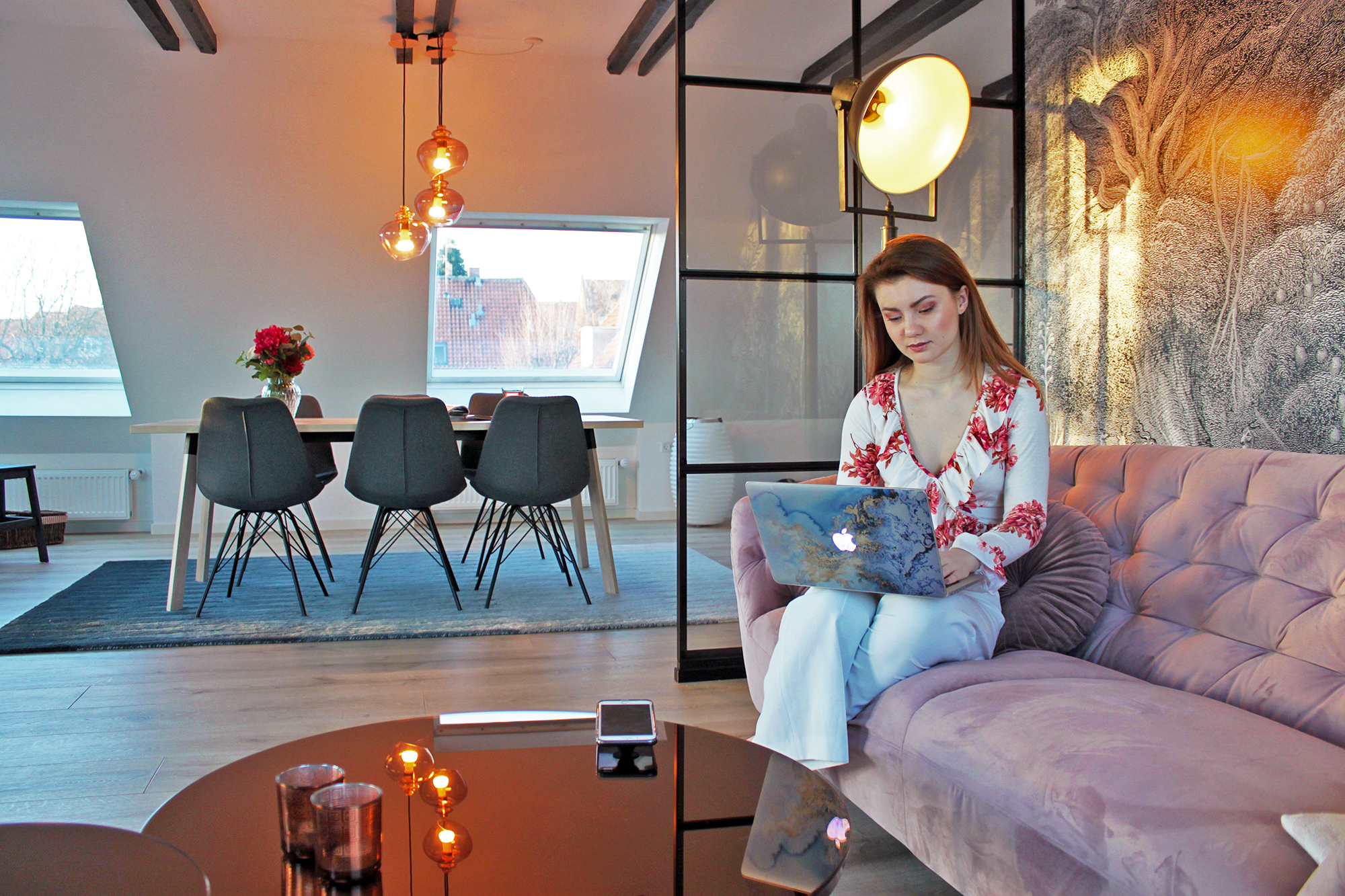 Juliana Chow Copenhagen apartment home - Philips Hue lights smart home